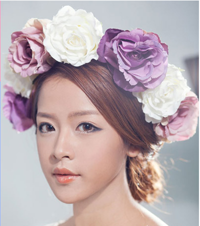 Fashion hairstyle with white and purple flower