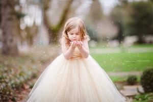 biege flower girl dress