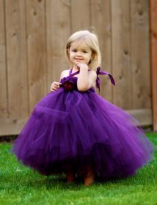 dark purple flower girl dress