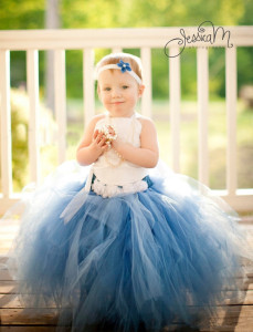 mix blue and white flower girl dress
