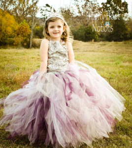 mix purple and white flowe girl dress