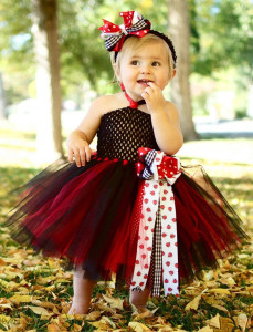 mix red and black flower girl dress