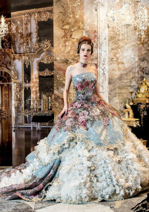multicoloured wedding dress