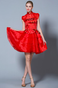 Brocade red dress for bride