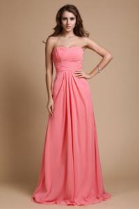Elegant ruching beading sweetheart chiffon a-line bridesmaid dress