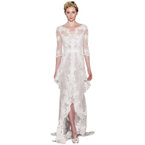 Pronvias chiffon lace wedding dress