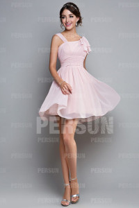 Ruched Straps Chiffon Pink A-line Knee Length Bridesmaid Dress