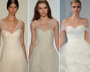 Transparent shoulder wedding dress