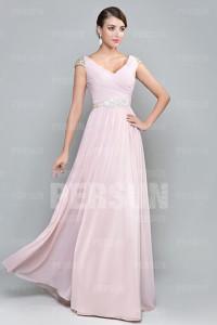 V neck Cap Sleeves Pink bridesmaid dress