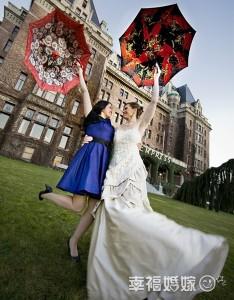 bride and her bridesmaid are so happy
