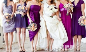 bride and her five bridesmaids