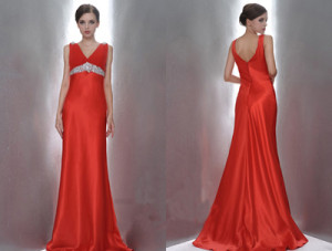 high waist back red dress for bride