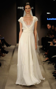 long chiffon deep v wedding dresses