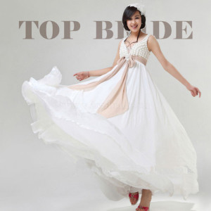 long chiffon princess weddingd dress