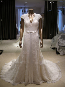 long deep v wedding dress