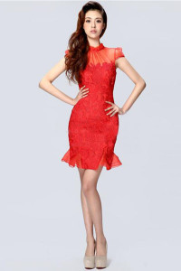 mandarin collar red dress for bride