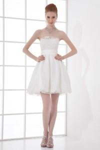 strapless short wedding dress