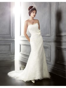 lace over satin mermaid strapless-chapel train wedding dresses