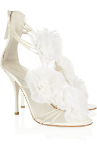 white wedding shoes with flower