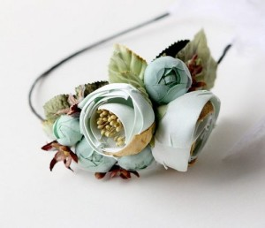 blue and green flower hair accessories