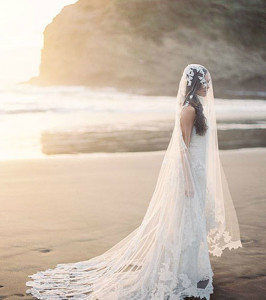 bride with floor length veil