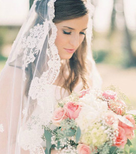 bride with long lace veil