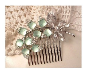light green vintage hair accessories
