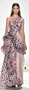 one shoulder pink floor length gown with flowers