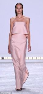 pink simple strapless evening dress_