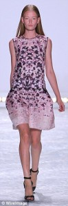 short pink evening dress with pretty patterns