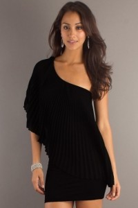 Elegant Pleated One Shoulder Chiffon Black Column Cocktail Dress