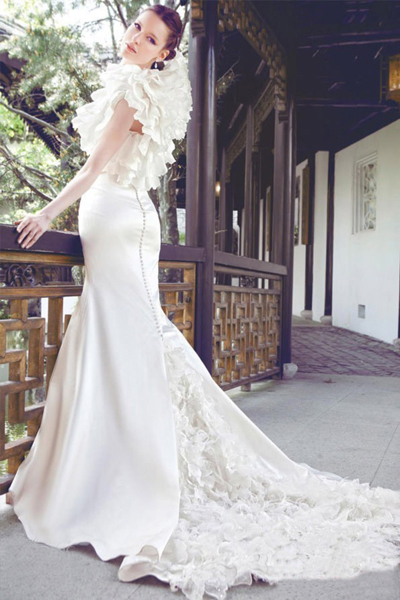 vintage satin lace tail wedding dress