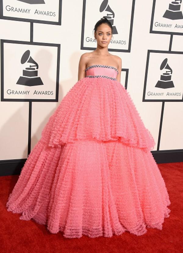 Rihanna pink ball gown