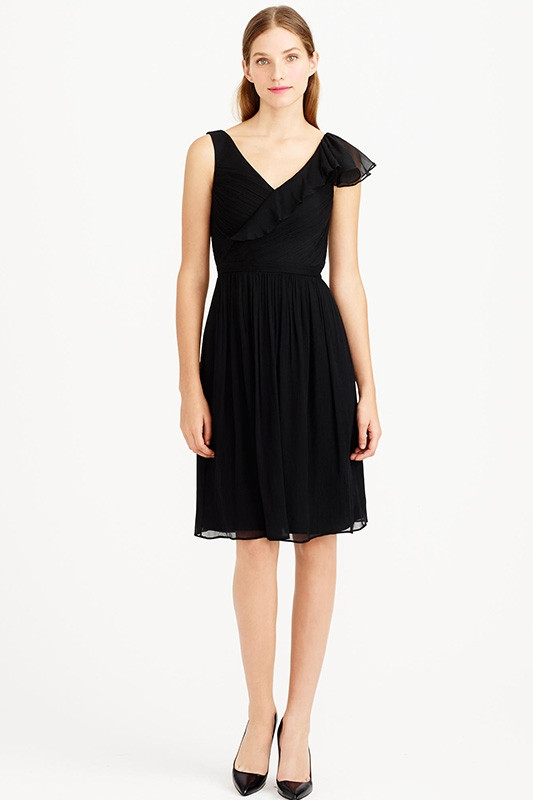 black v neck ruffles bridesmaid dress