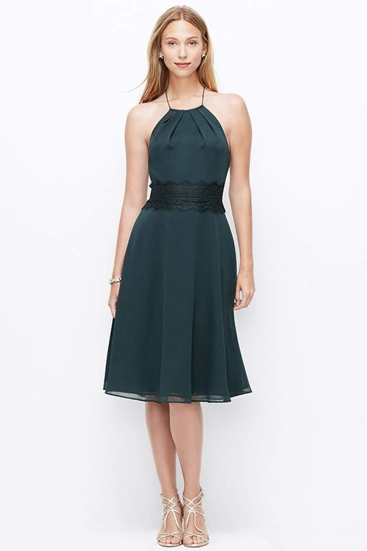 dark green halter bridesmaid dress