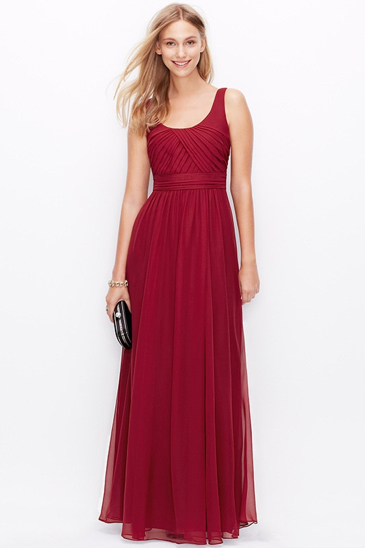 elegant boatau wine red bridesmaid dress