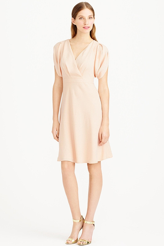 elegant light pink short bridesmaid dress