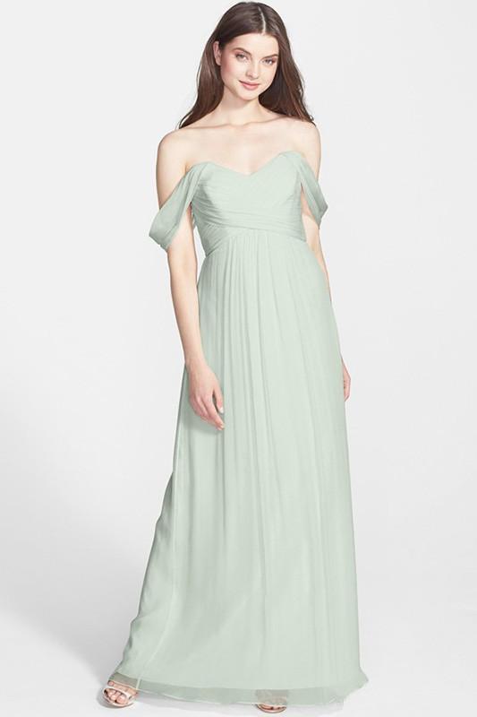 fresh pink green bridesmaid dress