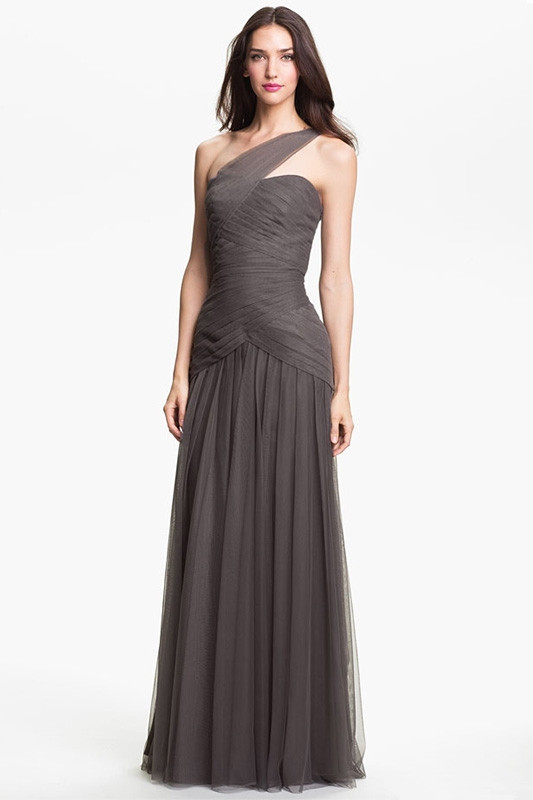 Dark gray One shoulder Tulle Sheath Long Bridesmaid gown