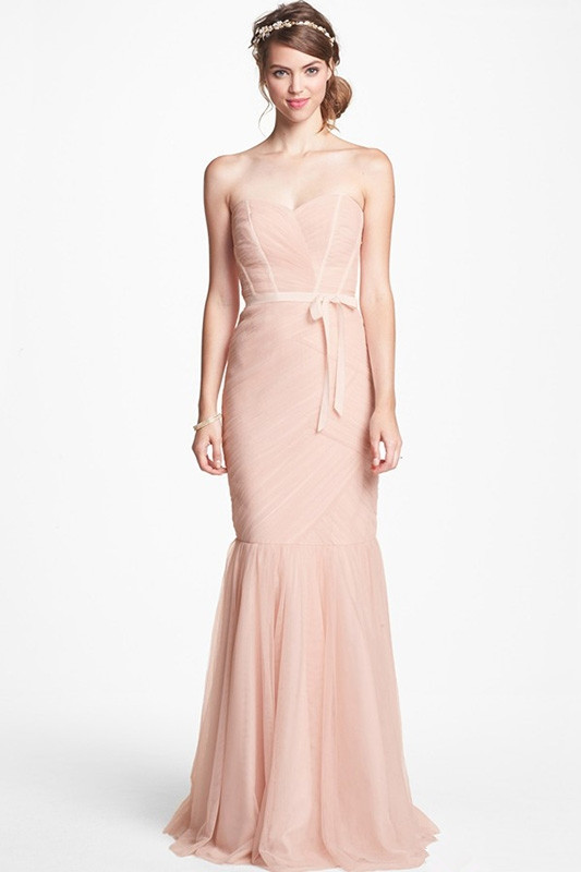 nude color tulle long bridesmaid dress