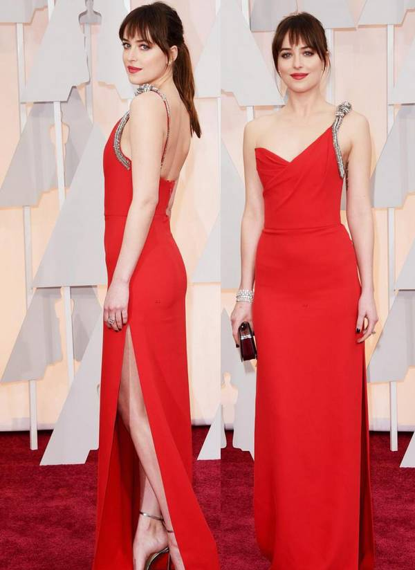 Dakota Johnson red party gown