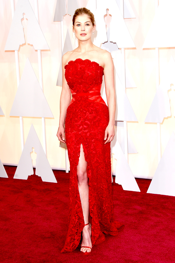 Rosamund Pike red evening Dresses