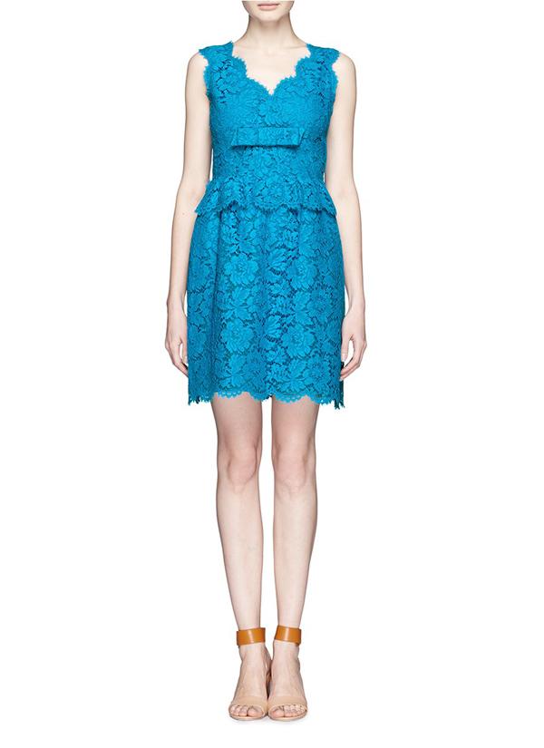 sexy v neck blue lace formal dress