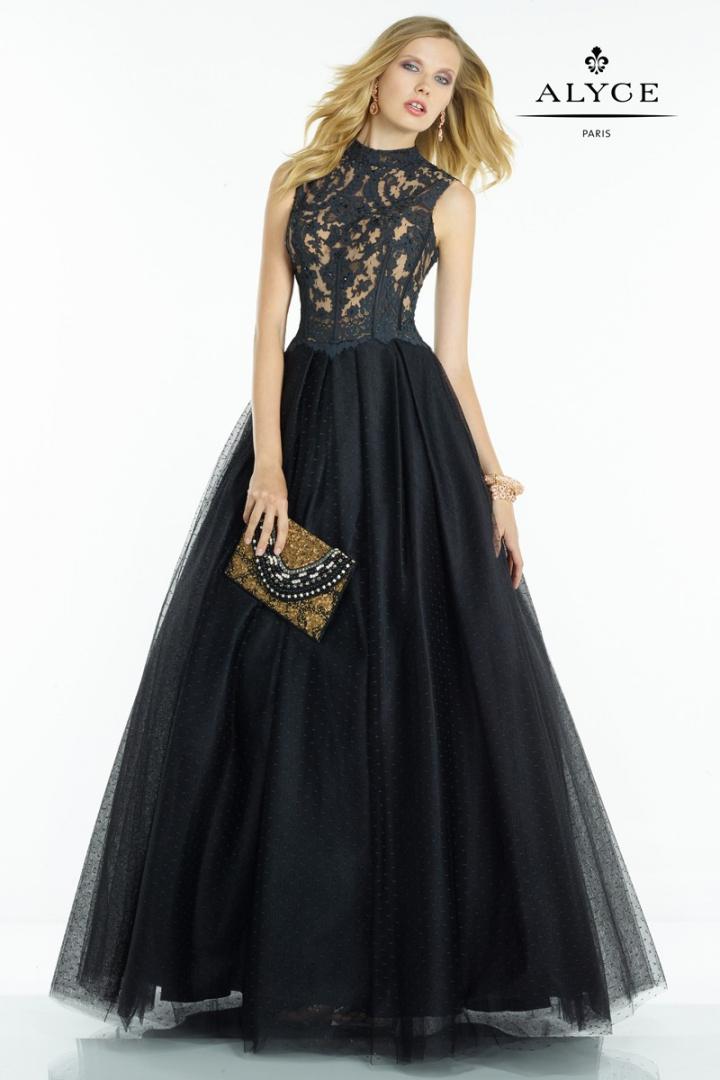 vestido-de-fiesta-en-negro-con-cuerpo-de-encaje-y-falda-acam-97328